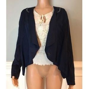 Draped Front Button Asymmetrical Blazer Jacket